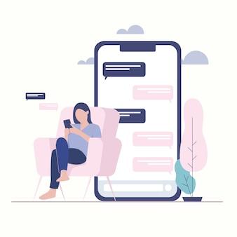 Ilustración de mujer con handphone. mensajero de chat en línea.