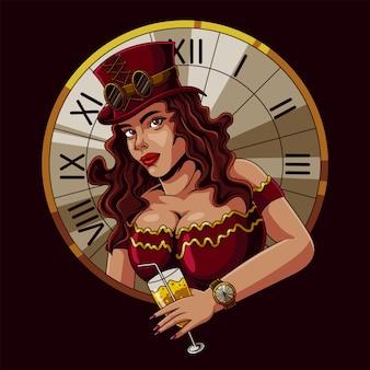 Ilustración de mujer hermosa steampunk