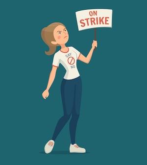 Ilustración de la mujer de la huelga