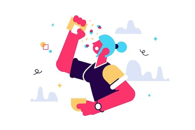 Ilustración de la mujer intenta comer muchas pastillas
