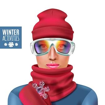 Ilustración de mujer de invierno de traje de esquí