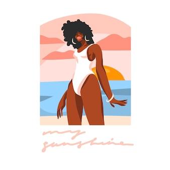 Ilustración con mujer joven belleza negra feliz, en traje de baño
