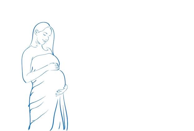 Ilustración de mujer joven embarazada skecth simple line vector
