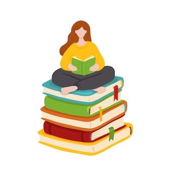 Ilustración de una mujer joven sentada en la pila de libros gigantes y leyendo.