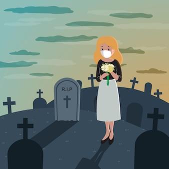 Ilustración de mujer llorando sola en el cementerio. pérdida de pariente.