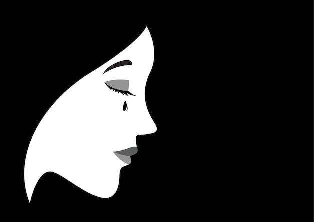 Ilustración de una mujer llorando
