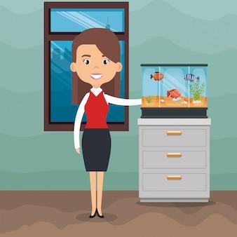 Ilustración de mujer con peces en acuario