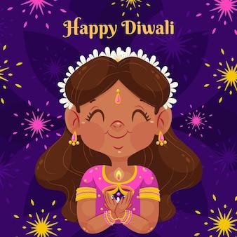 Ilustración de mujer plana diwali