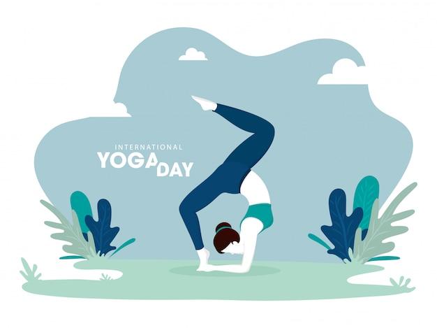 Ilustración de la mujer en pose de yoga sobre fondo verde abstracto