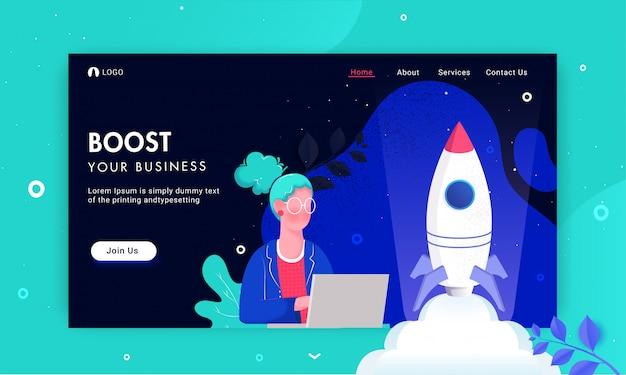 Ilustración de una mujer que trabaja desde una computadora portátil con el lanzamiento exitoso de un proyecto de cohete para la página de inicio basada en boost your business.