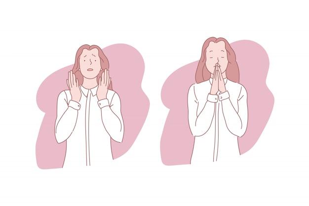 Ilustración de mujer rezando