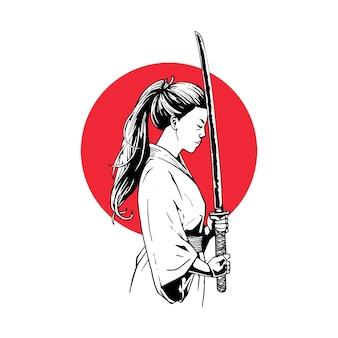 Ilustración mujer samurai con espadas