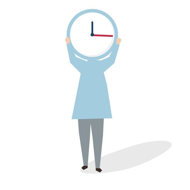 Ilustración de mujer sosteniendo un gran reloj