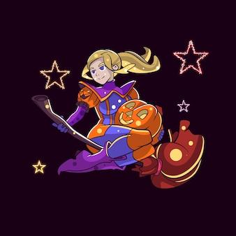 Ilustración de mujer super halloween para personaje, etiqueta, ilustración de camiseta
