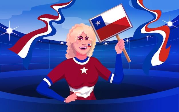 Ilustración de mujeres de aficionados al fútbol de chile