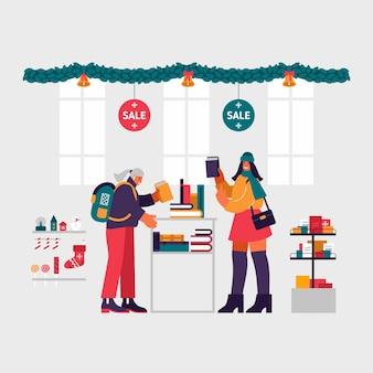 Ilustración de mujeres jóvenes sonriendo y seleccionando libros como regalos de la estantería mientras visitan la librería durante la venta de navidad