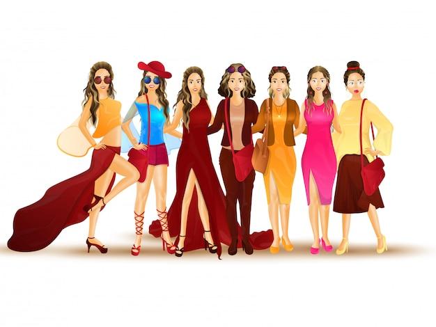 Ilustración de las mujeres de moda.