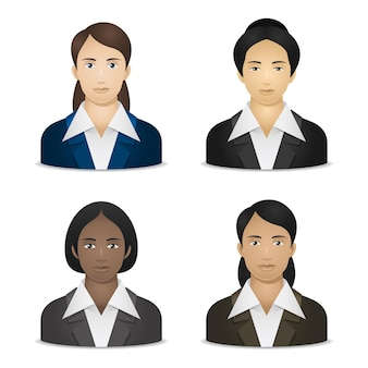 Ilustración, mujeres de negocios de diversas nacionalidades, formato eps 10