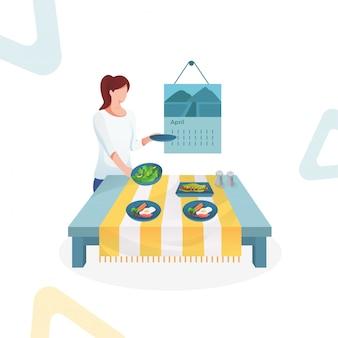 Ilustración de mujeres preparan comida en la mesa.
