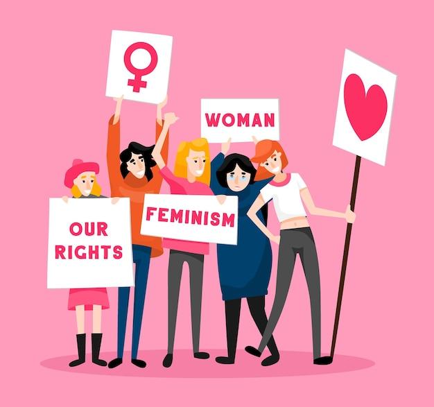 Ilustración de mujeres protestando