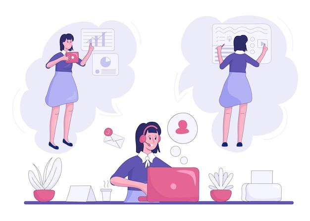 Ilustración multitarea empresaria dibujada a mano plana