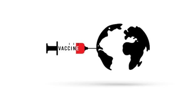 Ilustración mundial y jeringa de vacuna
