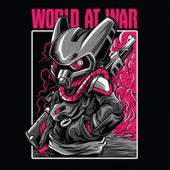Ilustración del mundo en guerra