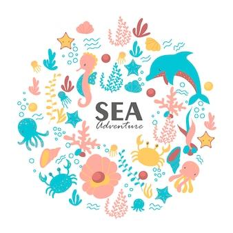 Ilustración del mundo submarino con divertidos animales marinos.