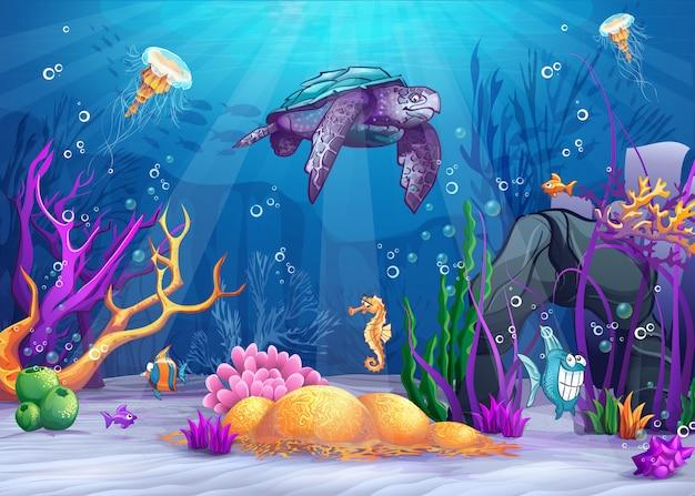 Ilustración del mundo submarino con un pez divertido y una tortuga.