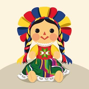 Ilustración de muñeca maría tradicional mexicana