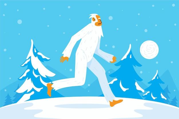 Ilustración de muñeco de nieve abominable yeti dibujado a mano