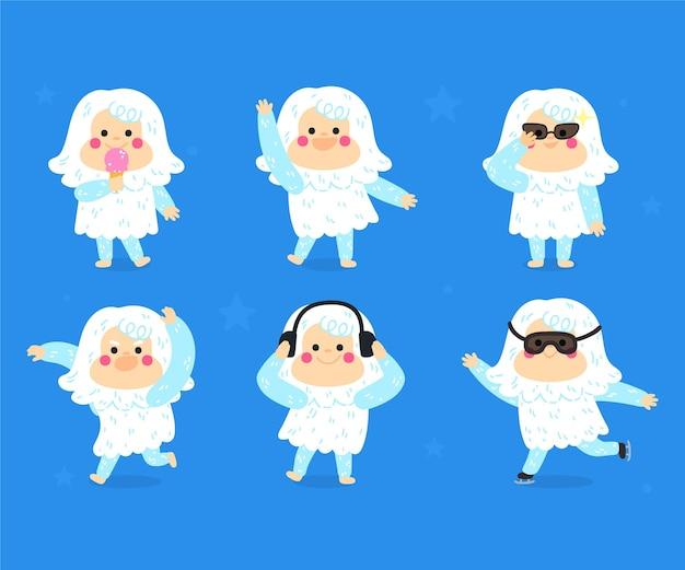 Ilustración de muñeco de nieve abominable yeti de dibujos animados