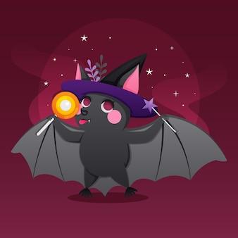 Ilustración de murciélago de halloween con dulces