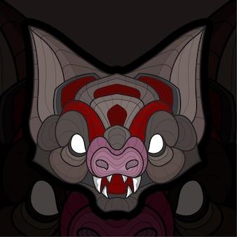 Ilustración de murciélagos para colorear animal zentangle estilizado