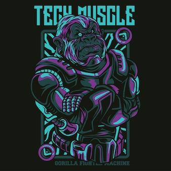 Ilustración muscular de tecnología