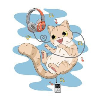 Ilustración de música de amor de gato