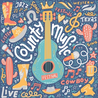 Ilustración de música country para postales o pancartas de festivales