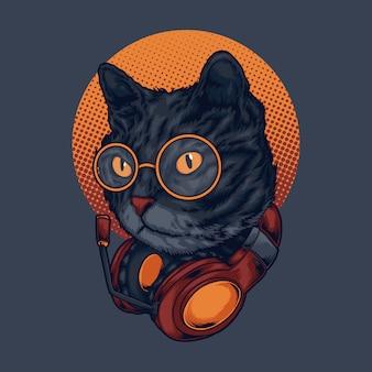 Ilustración de música de gato