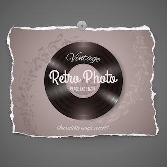 Ilustración de música de vinilo vintage