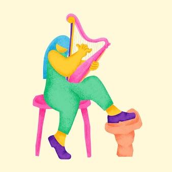 Ilustración de músico colorido de vector de etiqueta engomada de arpista