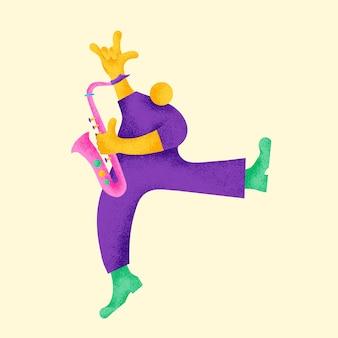 Ilustración de músico colorido de vector de pegatina de saxofonista