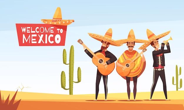 Ilustración de músicos mexicanos