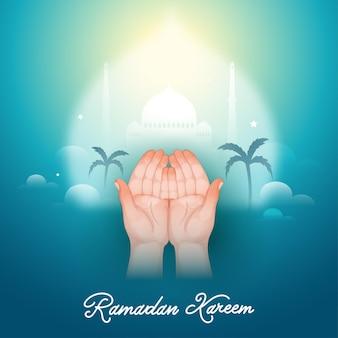 Ilustración de musulmanes rezando o abrir las manos vacías