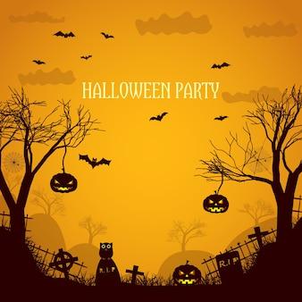 Ilustración naranja de fiesta de halloween con siluetas de árboles muertos, caras de calabaza espeluznantes y lápidas planas