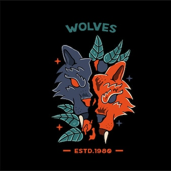 Ilustración naranja de wollf with skull para camiseta y tatuaje