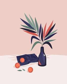 Ilustración de naturaleza muerta con botella con libro de hojas de palma y mandarinas