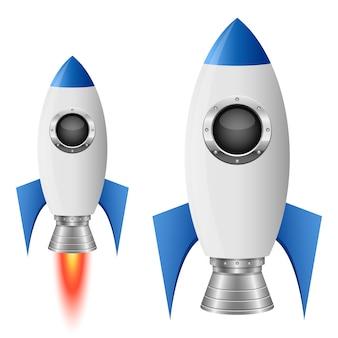 Ilustración de nave espacial cohete sobre fondo blanco