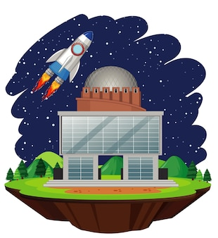 Ilustración con nave espacial volando en el cielo.