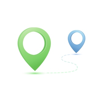 Ilustración de navegación gps con pines de mapa