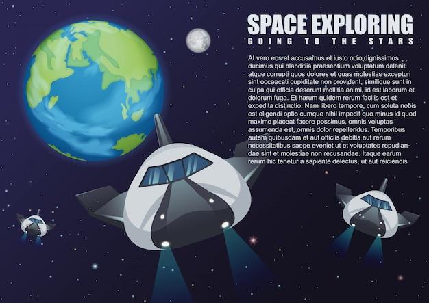Ilustración de naves espaciales que vuelan desde la tierra al espacio exterior. galaxia explorando.